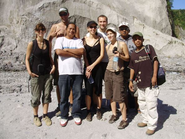 Hub (in white shirt) with Wisnu and Mt. Pinatubo trekkers